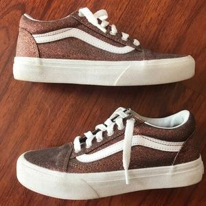 Vans Old Skool V Bronze Glitter Big Kids Size 2.5